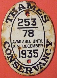 UNITED KINGDOM THAMES CONSERVANCY 1935 ---BARGE (BOAT), LICENSE PLATE