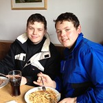 Scott & Aaron tucking in after a tough first morning on the slopes