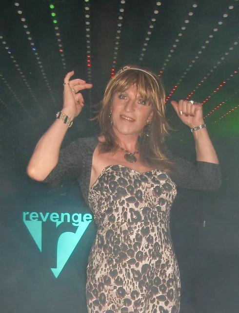 On the podium in Revenge nightclub