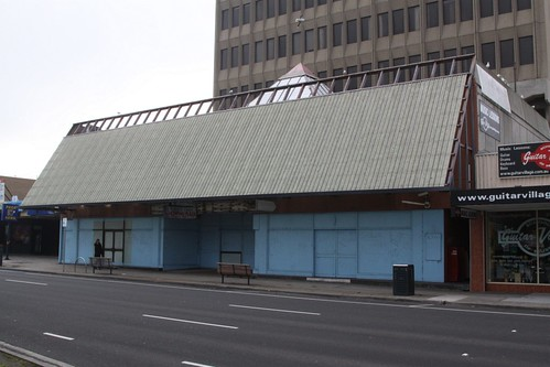 Boarded up entrance to the Peninsula Centre