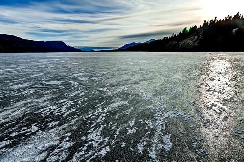 lake canada ice landscape rockies frozen colombia bc british windermere