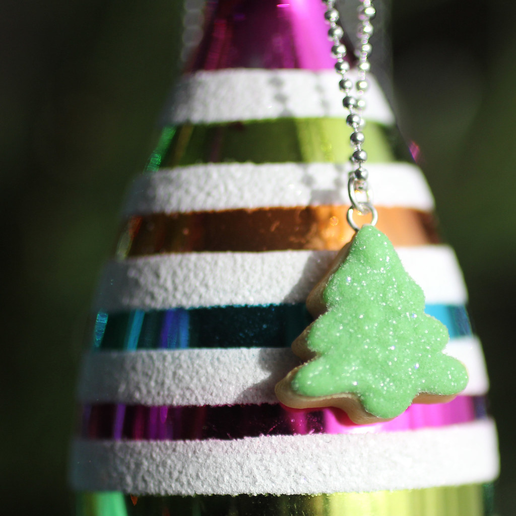 Polymer Clay Christmas Tree.Sparkly Christmas Tree Polymer Clay Necklace Handmade By M