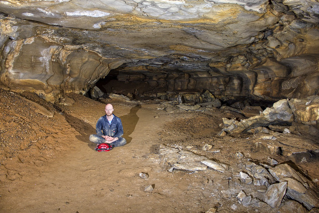 Mike West, Buddah pose, D Passage, Blue Spring Cave, White Co, TN