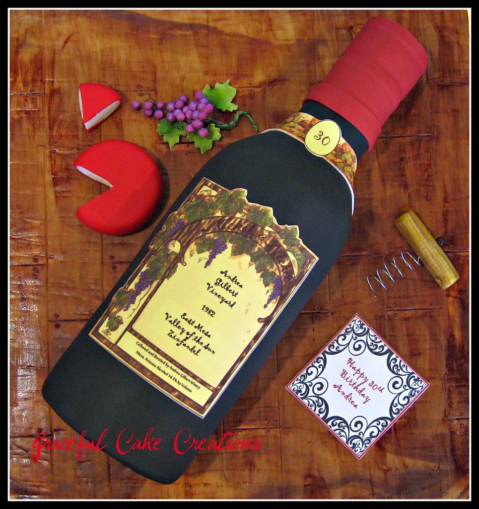 Fantastic Wine Bottle Birthday Cake Grace Tari Flickr Funny Birthday Cards Online Elaedamsfinfo