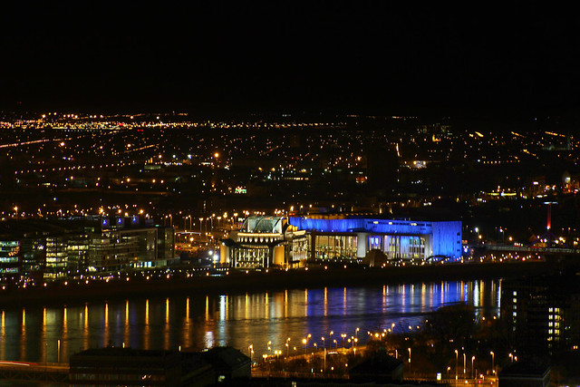 View from the Citadell - the Hungarian National Theatre and the Palace of Arts at night