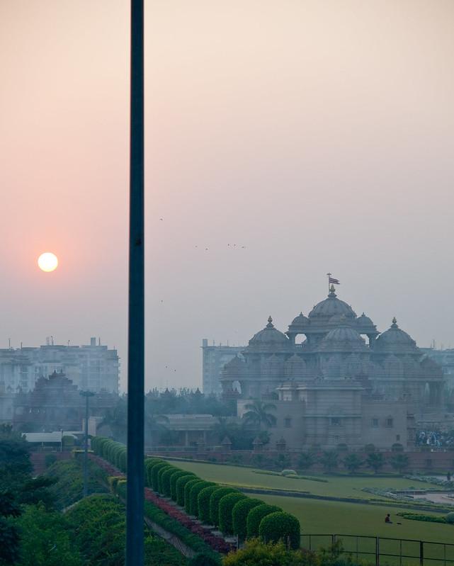 Akshardham temple at sunset