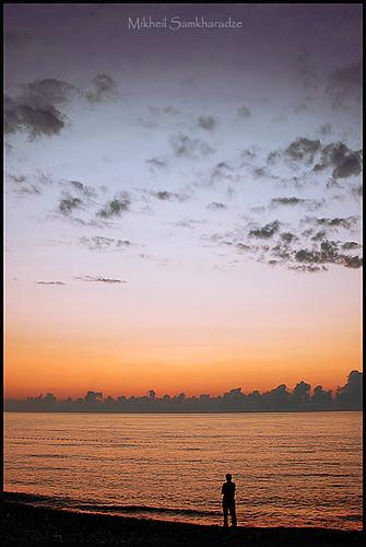 sunset sea man black vertical georgia evening miracle sakartvelo batumi kesha batum mikheil saqartvelo samkharadze