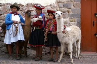 Indigenas posing for money in Cusco