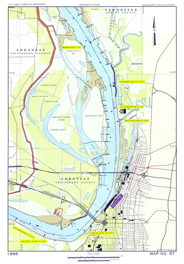 1998 map of Mississippi River area at Memphis, TN - U.S. A ...