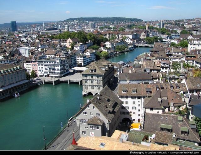 View from the Grossmünster, Zurich, Switzerland