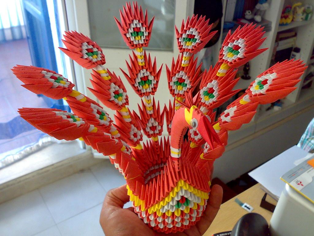 Papercraft 3d origami peacock tutorial - crafts | 768x1024