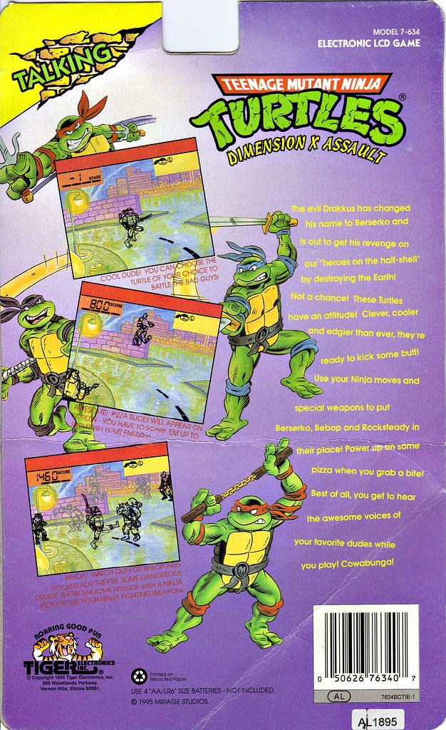 "TIGER ELECTRONICS :: ""TEENAGE MUTANT NINJA TURTLES: DIMENSION-X ASSAULT"" 'TALKING' ELECTRONIC LCD GAME ..card backer ii (( 1995 )) by tOkKa"