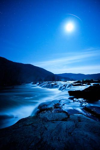 blue moon water night river lowlight westvirginia waterfalls sandstonefalls