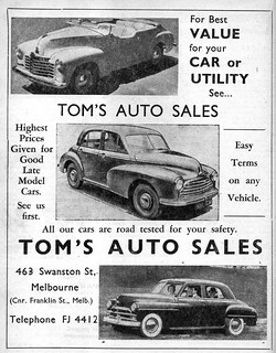 1951 Tom S Auto Sales Used Cars Ad 1951 Australian Magazin Flickr