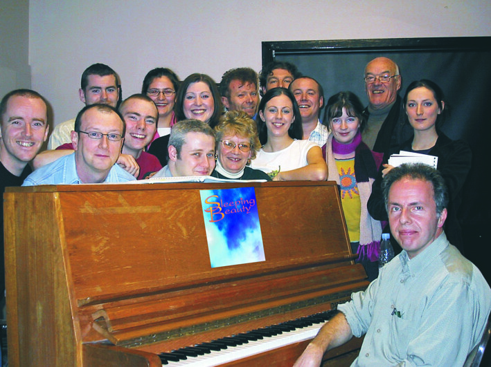 Sleeping Beauty cast in rehearsal with composer Rod McVey