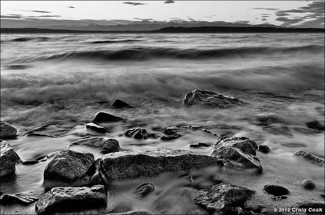 Water & rocks in B&W, Edmonds (WA)