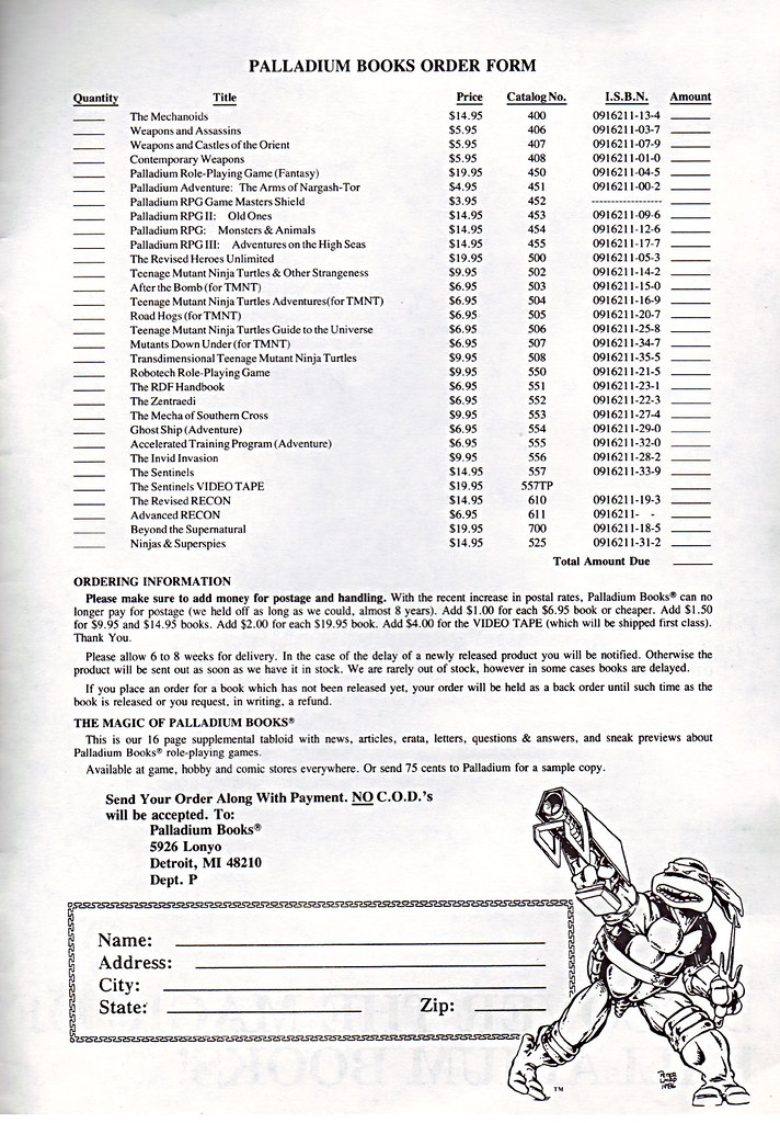'THE CATALOG OF PALLADIUM BOOKS 1988-89 Catalog' xv (( 1988 )) by tOkKa