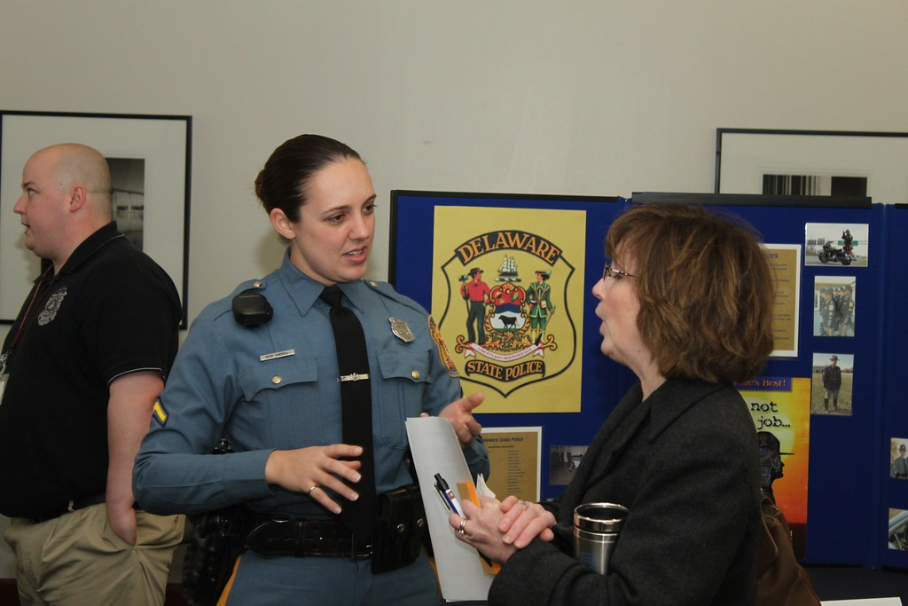 Delaware State Police officers talk to attendees  | Widener