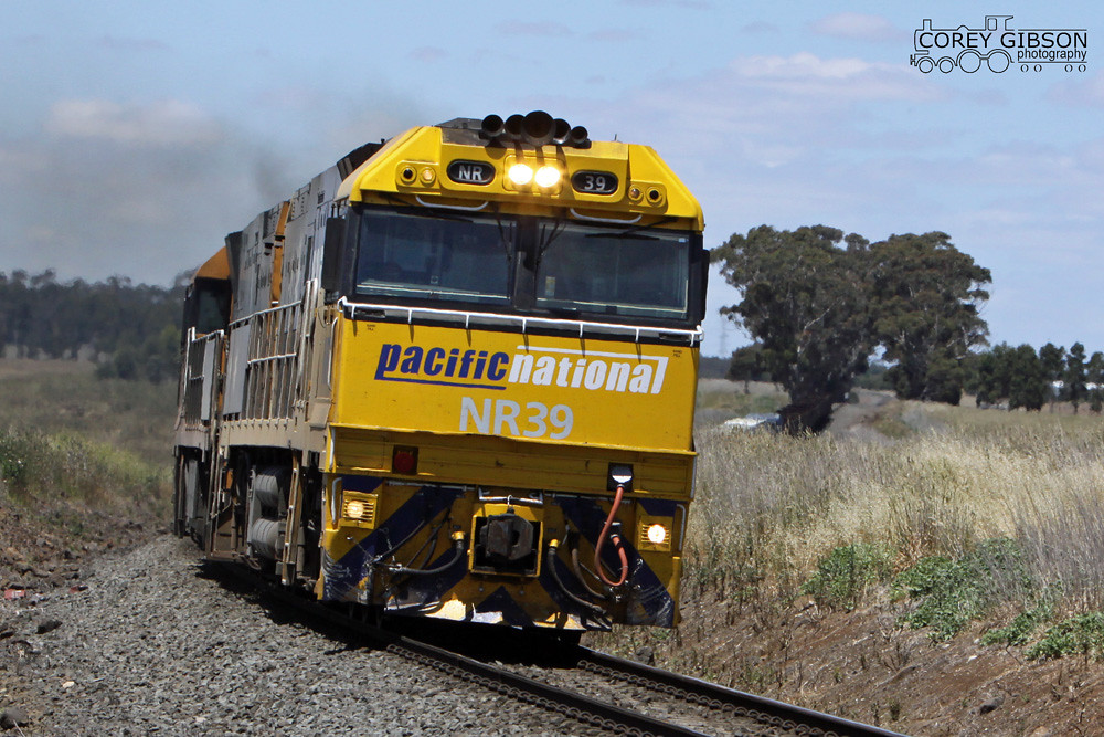 NR39 & NR13 with the 5WX2 steel train at Berrybank by Corey Gibson