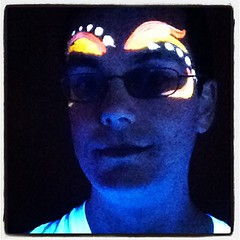 At a blacklight party for New Year's 2012