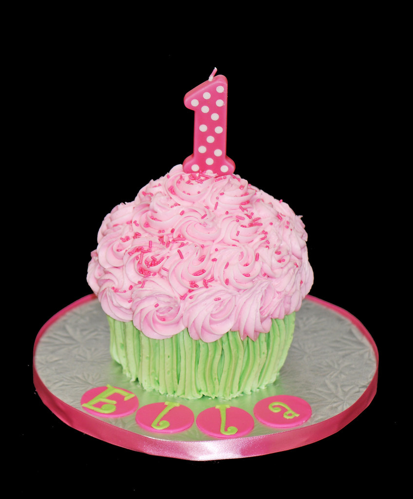 Super Giant Cupcake Cake First Birthday Smash Cake Pink And Gree Flickr Personalised Birthday Cards Veneteletsinfo