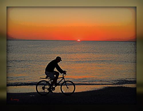 sunset beach gulfofmexico cyclist blinkagain