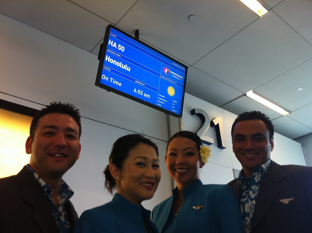 Hawaiian Airlines Flight Attendants At The JetBlue Terminal 5