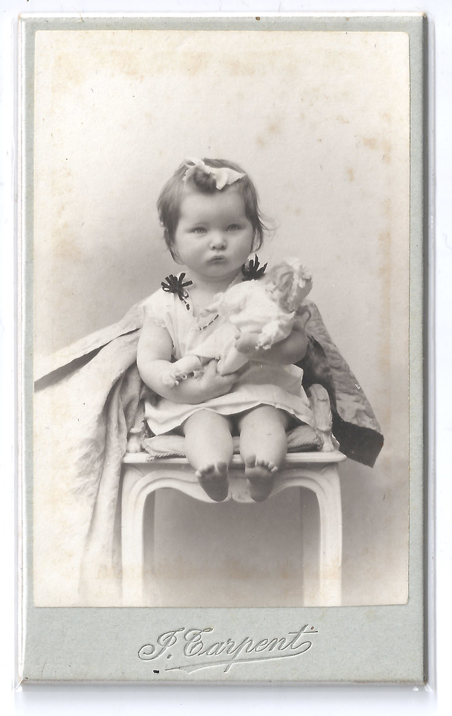 Baby With Doll Vintage French Carte De Visite Featuring A