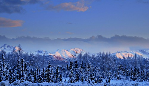 sunset snow alaska night anchorage winterbeauty kartpostal