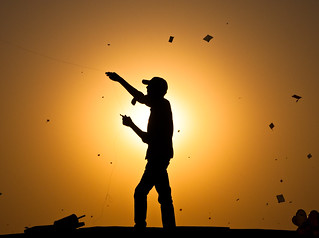 Kite fighting in Ahmedabad
