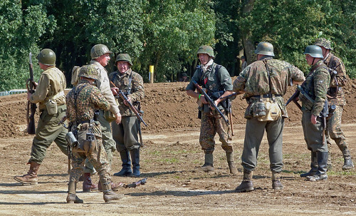 German SS Grenadiers converse with US GIs