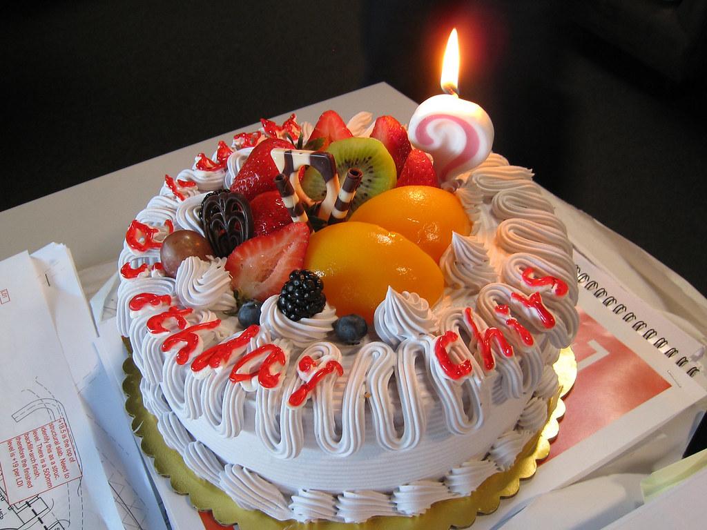 Peachy Happy Birthday Chris Yummie Taro Fruit Cake Flickr Funny Birthday Cards Online Eattedamsfinfo
