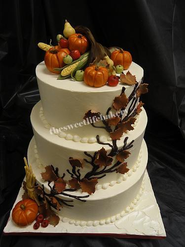 Fall Cornucopia Wedding Cake