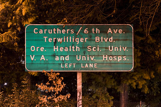 Caruthers/6th Ave. Terwilliger Blvd. Ore. Health Sci. Univ. V.A. and Univ. Hosps. LEFT LANE (to be continued) | by Curtis Gregory Perry