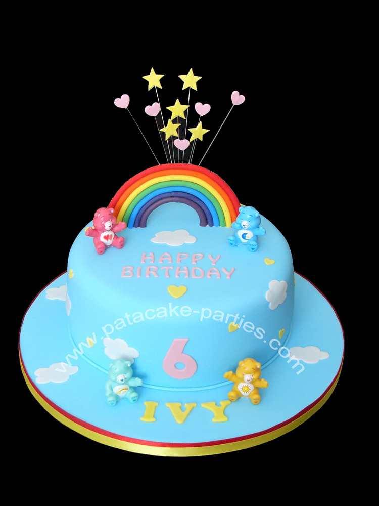 Cool Care Bears Cake Simple Little Cake With Care Bear Figures Flickr Funny Birthday Cards Online Alyptdamsfinfo
