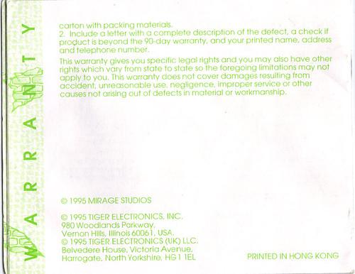 "TIGER ELECTRONICS :: ""TEENAGE MUTANT NINJA TURTLES: DIMENSION-X ASSAULT"" 'TALKING' ELECTRONIC LCD GAME ..INSTRUCTION MANUAL  pg. 16 (( 1995 )) by tOkKa"