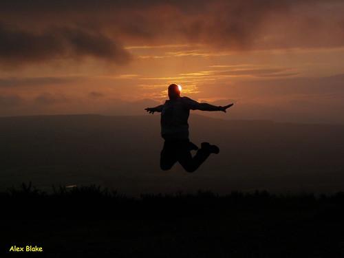 silhouette swansea wales sunrise jump mynydd clydach gelliwasted