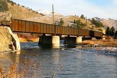 Abandoned Milwaukee Road Bridge.  East of Missoula,Montana