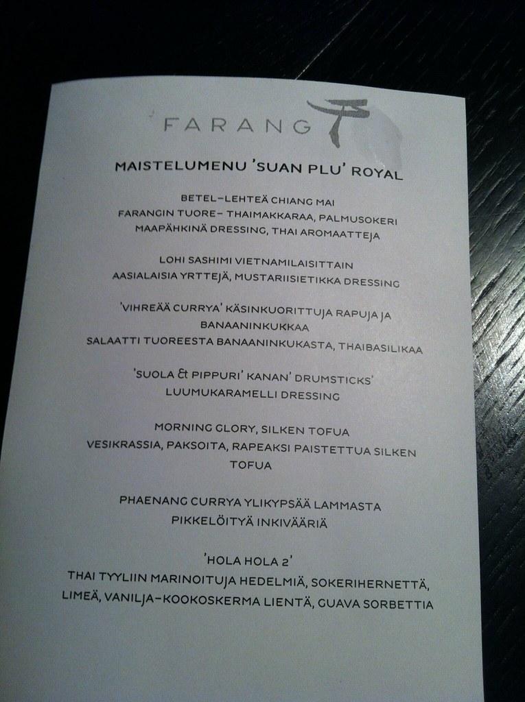 6 ruokalajin menu