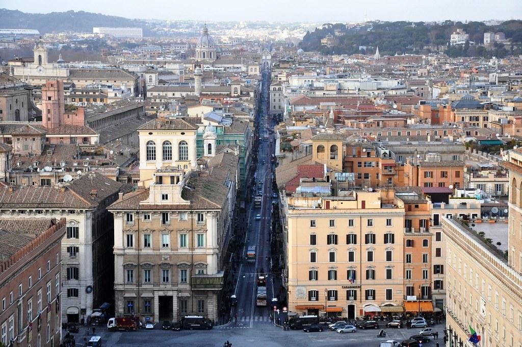 Roma Via Del Corso Vista Dalla Terrazza Delle Quadriglie