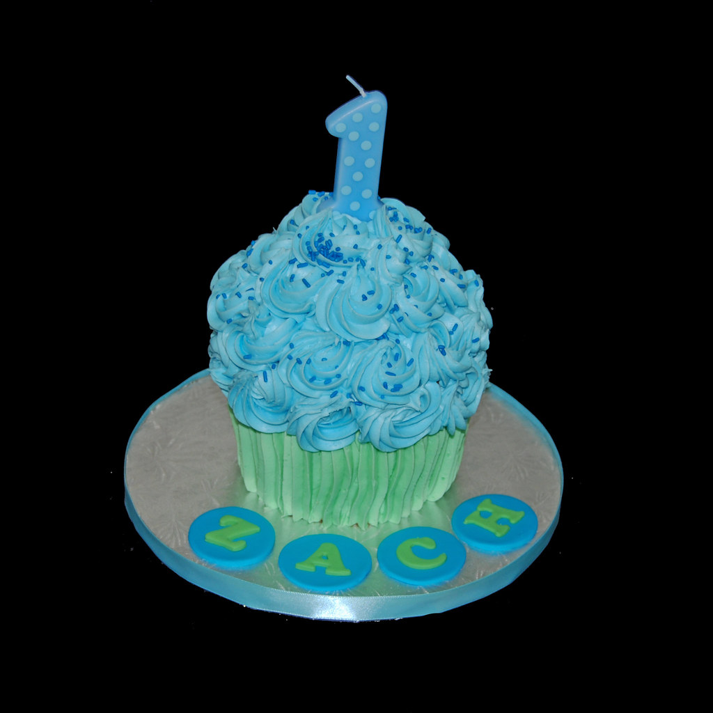 Groovy Giant Cupcake Cake First Birthday Smash Cake Blue And Gree Flickr Birthday Cards Printable Riciscafe Filternl