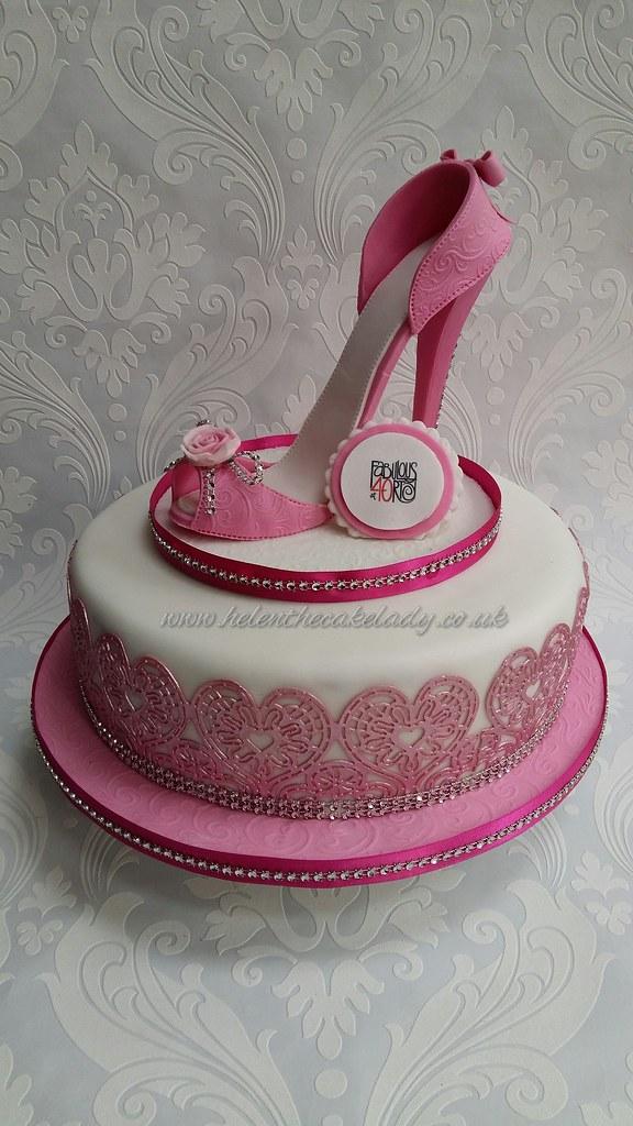 Pleasing Stiletto Shoe 40Th Birthday Cake Helen Flickr Funny Birthday Cards Online Kookostrdamsfinfo