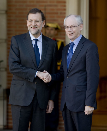 President of the European Council, Herman Van Rompuy, shakes hands with the Spanish Prime Minister, Mariano Rajoy, at the Moncloa palace in Madrid, 17 January 2012 | by Herman Van Rompuy