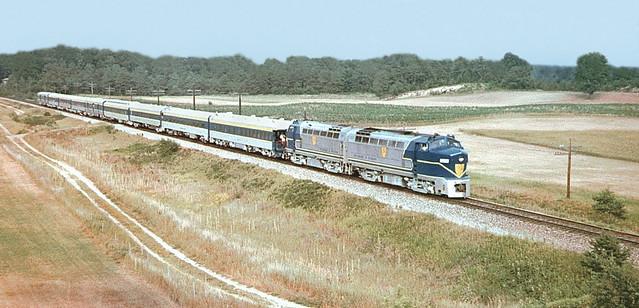 Delaware & Hudson Baldwin RF-16 locomotives 1205 & 1216, seen hauling a railfan excursion train, 07-12-1975
