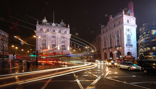 Piccadilly Circus as the snow of 2012 started to fall