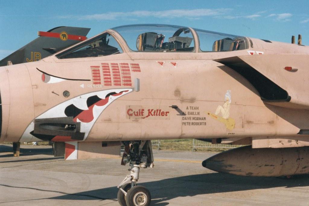 """RAF Fairford. July, 1991. RAF Panavia Tornado GR1, ZA452  GK. Gulf Killer""""; """"Gaynor"""".  20 Sqn. RAF."""