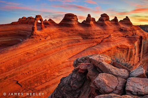 sunrise landscape arches archesnationalpark hdr delicatearch civiltwilight 5xp jamesneeley flickr23