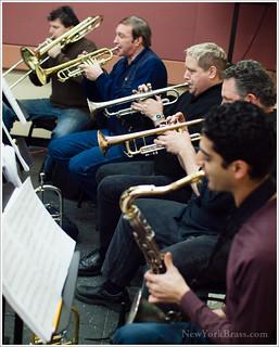 Rehearsing with trumpeters (L to R) Joseph Kaminski, Tony Gorruso, Jerry Sokolov & Shlomi Cohen on Sax. | by NewYorkBrass