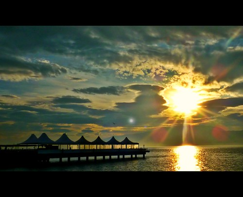 park sea sun clouds sunrise turkey glowing kocaeli seka