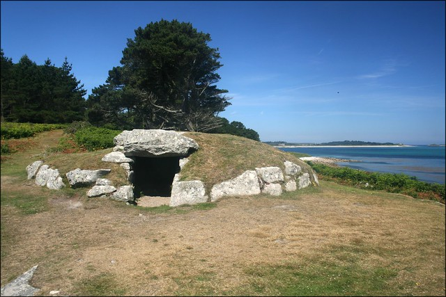 A Chambered Cairn (burial chamber) on the north coast of St Marys, Isles of Scilly